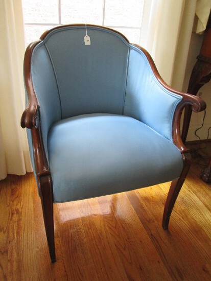 Dark Wood Arm Chair Scallop Back, Curled Arms, Curved Front Legs, Blue Upholstered Body