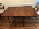 Cherry Wood Drop Leaf Dining Table, Block-Spindle-Block Legs on Casters
