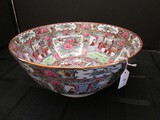 Large Hand Painted Asian Garden Scene/Rose Pattern Centerpiece Bowl Gilted Rim