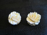 Pair - Sterling AC Stamped White Rose Design Earrings