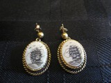 925 Stamped Earrings w/ Etched Oval Ship Pendants