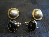Lot - 925 Mexico TH-151 Stamped Earrings, 2 Black Stones, 2 Laurel Trim