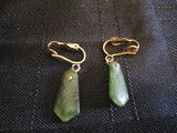 Pair - Jade Stone Dangle Earrings
