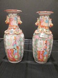 Tall Asian Scene Motif/Rose Pattern Hand Painted Vases, Raised Bow/Bird Handles