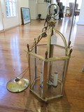 6 Window Hanging Lantern/Light, 3 Lights in Curved Brass Frame w/ Chain/Hoop