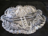 Crystal Glass Coaster Plate Pinwheel/Hobcut Pattern Waved/Sawtooth Rim