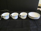 Germany Stamped 4 Saucers, 3 Cups Gilt Trim Blue Floral Band
