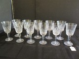 Waterford 11 Crystal Glass Wine Cups Diamond Cut Pattern Star-Cut Base