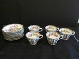 England Coalport Lot - Asian Cherry Blossom Motif Pattern Wave Trim