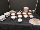 Hand Painted Asian Scene/Rose Pattern Gilted Rim Lot - 11 Cups, 2 Soup Spoons, 13 Saucers