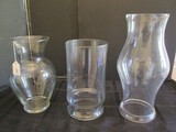 Lot - Glass Vases - 1 Urn Design Wide Top 10 3/4