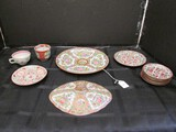 Lot - Misc. Asian Motif/Rose Pattern Saucers, Plate 10