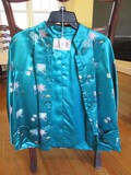 Peony Brand Shanghai China Silk Asian Floral/Green Design Jacket