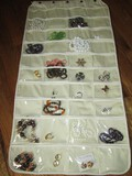 Jewelry Bag Hanging w/ Contents Misc. Butterfly Enamel Pin, Necklaces, Earrings, Pins/Brooches