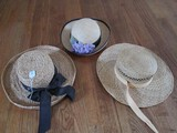 Lot - 3 Wicker Sun Hats, 1 Black Band w/ Purple Faux Flowers, 1 w/ Block Bow, 1 Jeff Gordon Inc.
