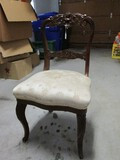 Vintage Wooden Chair Ladder Back w/ Curved Scroll/Leaf/Rose Design