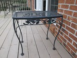 Black Metal Side Patio Table Lattice Top, Leaf Trim, Curved Legs