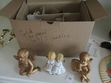 Christmas Lot - Angel Sitting Figurines, Singing Ceramic Angel, Hanging Egg Ornaments