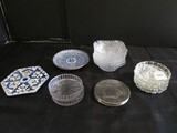 Coasters Lot - Pinwheel Glass Cut, Asian Blue Ceramic Designs, Hobcut Bowls, Etc.
