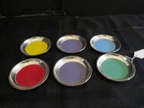 6 Multi-Colored Base Coasters, Base Stamped Towle Sterling 101