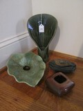 Lot - Tall Ceramic Fan Back Candle Holder 10 1/4