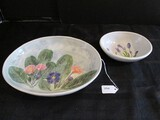 Salt Marsh Pottery Primrose SM87 Hand Made Bowl w/ Pink/Blue Green Leaf Pattern