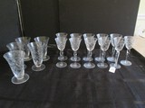 Glass Lot - 11 Tall Port Glasses Prescut Pattern 6