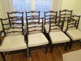 8 Cherry Wood Dining Chairs, Cream Upholstered Seat Ornate Curled/Pierced Ladder Back