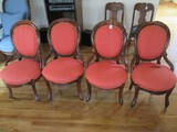 4 Rococo-Revival Style Chairs Curved Leaf/Scroll Design Shield Back, Grooved Legs