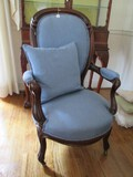 Dark Mahogany Wood Chair w/ Curled/Grooved Shield Back/Curved Arms, Curved Front Legs