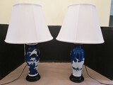 Pair - Gorgeous Blue Porcelain Ceramic Lamps Urn Design w/ Raised Milk Glass Crane Scallion