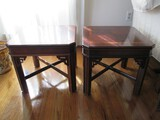 Pair - Dark Wooden Side Tables Square Top, Grooved Legs, Stretchers, Pieced Design Corners