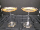 Tall Votive Candle Saucers on Cut Pontil Colors, Gilted Floral Pattern/Rim/Bead Base