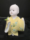 Gumps Japan Ceramic Boy w/ Green Bird Figurine