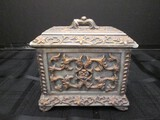 Resin Vine/Rose Pattern Keepsake Box Antique Patina