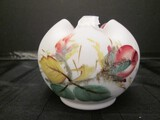 Hand Painted Bud Vase Rose/Leaf Motif, Crimped Rim China