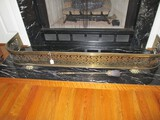 Brass Fireplace Gate/Guard Ornate Rose Pattern/Pierced Motif w/ Paw Feet
