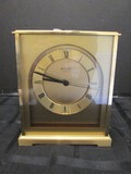 Solid Brass Bulova Quartz Mantle Clock 00021 on Base