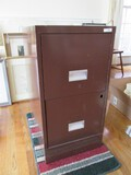 2 Drawer Brown Metal Filing Cabinet
