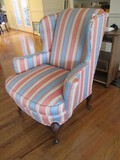 Pink/Blue Striped Arm Chair Wing Sides, Curved Arms, Wooden Scallop Curved Legs