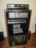 Lot - Wooden Veneer Record Player Cabinet w/ Glass Front w/ Sony 5 CD Changer