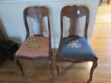 2 Wooden Chairs Urn Back Curved Scalloped Top, Curved Legs, Curved Front