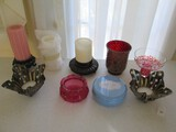 Candle Lot - Misc. Candles w/ Wood/Glass/Metal Candle Holders