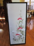 Asian Watercolor Print Floral Picture in Black Bamboo Wood Frame/Matt