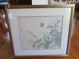 Asian Design Flowers & Butterfly Print in Gilted Wooden Frame/Matt