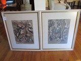 Pair - Housing/Street Sketch Art Scenes in White/Gilted Wood Frames/Matt