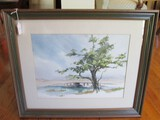 Hand Painted Water Colored Beach Scene Artist Signed B. Bondly