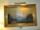 Hand Painted Oil on Canvas Wildlife/Nature Scene in Ornate Gilted Wooden Frame