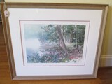 Lake/Forest Scene Litho Print Artist Signed N. Engle Aus Limited 701/950 Edition