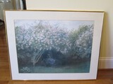 Women Under Blossom Tree Picture Print in Brassplate Frame/Matt